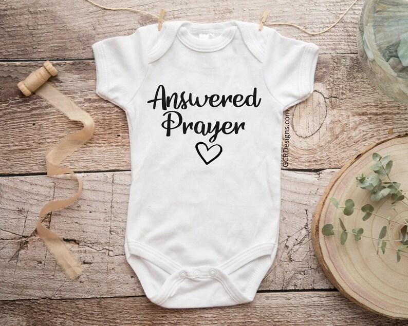 294fe60e1 Answered Prayer Baby Onesie Baby Announcement Gerber | Etsy