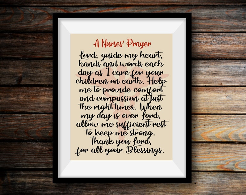 Nurses Prayer  Canvas Print  Nurse Decor  Nurse Gift   RN image 0