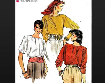 Blouse Pattern Very Easy Vogue 8609 Ladies Fancy Dressy Top Loose Fit Pullover Blouse Modest Feminine Misses Size 8 10 12 High Neckline CUT