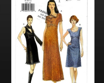 Vogue 9805 Dress Pattern Size 8 10, Lined Dress, Above Knee or Ankle Length, Sleeveless or Short Sleeves, Very Easy Vogue Partially Cut