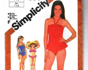 Girls Swimsuit Pattern Simplicity 6004 Size 7 & 8, One Piece or Child's Bikini Two Piece Swim Suit, Stretch Knit Fabric, Vintage 80s UNCUT