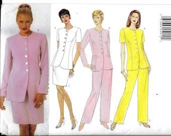 Skirt Pant Suit Blazer Jacket Top Pants Pattern Butterick 4825 Size 12 14 16 Petite & Regular Very Easy Shoulder Pads High Neck Modest UNCUT