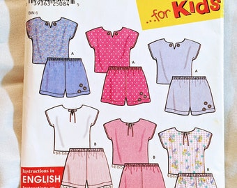 Simplicity 9796 Child Shorts and Top Pattern Size 1/2 1 2 and 3 SO Easy for Kids Summer PJ Pajama Pattern Cut Complete