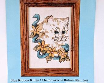 White Cat Stamped Cross Stitch Kit Blue Ribbon Kitten by Candamar Designs 2005 Cottagecore Decor5 x 7 Embroidery Kit