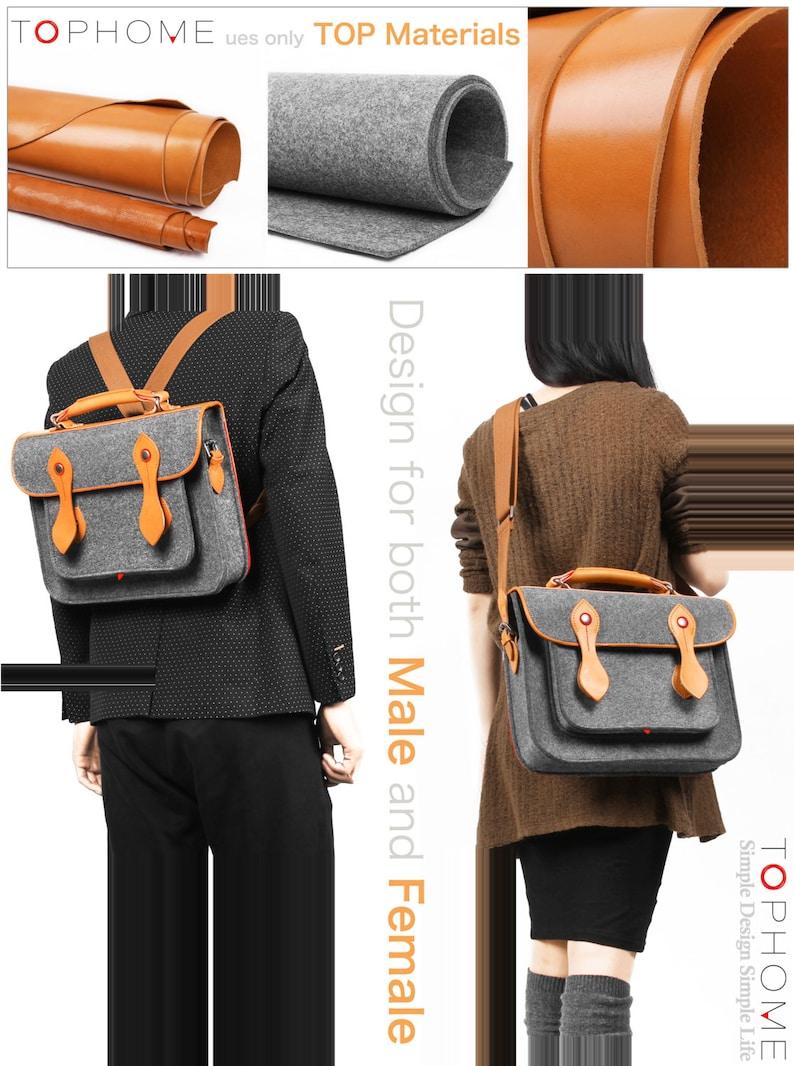 Macbook Satchel Felt Briefcase Shoulder Bag Laptop Bag Messenger Bag with Genuine Leather Handle for Macbook Air 13