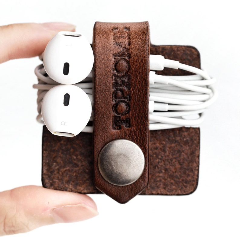 Leather USB Cable Organizer Cable Wrap Earbud Holder Cord Organizer Phone Cable Organizer Handmade Italian Genuine Leather