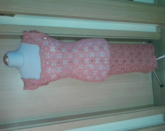 Crochet dress with sequins and beads
