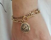 Lion medallion link charm bracelet