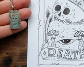 Death tarot card pendant necklace, silver skull pendant necklace for tarot lovers, symbolic tarot card collection with evil eye engraving