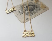 Custom year pendant, your of your kids birth year, custom numbers layering necklace, retro gold layering chain necklace with numbers