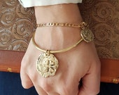 Large coin bangle, bangle with XL coin charm, statement stacking bangle, fashion statement bangle, show stopping golden bangle, lucky charm
