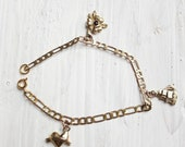 Love, Hope, Faith charm bracelet, brass triple charm bracelet with vintage Figaro chain, collect your favourite lucky charms and symbols