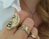 split in two coin signet ring, broken coin ring, golden statement ring