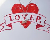 Lovers puffy heart pendant necklace, long chunky heart necklace, rebel heart pendant, engraveable heart Valentine's pendant necklace