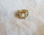 "Hand crafted Signet Horseshoe and flowers glmoonstone Ring ""I'm Feeling lucky"", playful lucky charm chunky ring"