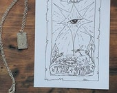 The star tarot reading card silver pendant necklace. Short tarot pendant necklace in sterling silver unique design,the star card, hope, eye