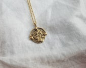 Art deco womens coin pendant necklace, Gold tone victorian style womens dress jewelry, Boho wedding gold tone ladies jewelry, gold coin