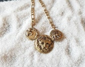 Triple coin choker necklace,Golden lion head coin with ship and cross, blogger necklace