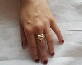 Be True to your heart, gold heart signet ring, with space for engraving/ personalising, empowering womans ring
