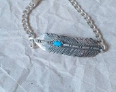 Feather ID bracelet with turquoise cabochon, curb link chain chunky feather bracelet