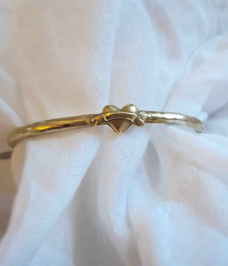 Heart gold tone womens adjustable cuff bangle Wedding image 0
