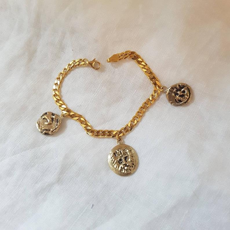 Curb chain charm bracelet chunky bracelet chain with lion image 0