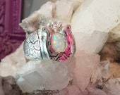 I'm feeling lucky horse shoe opal signet ring with engraved flowers on the sides, engraved lucky charm gemstone statement ring made to order