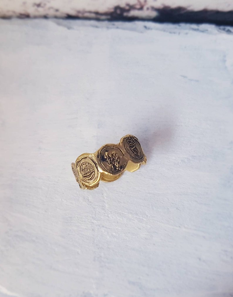 Multi coin ring mini coin ring gold coin ring multi image 0