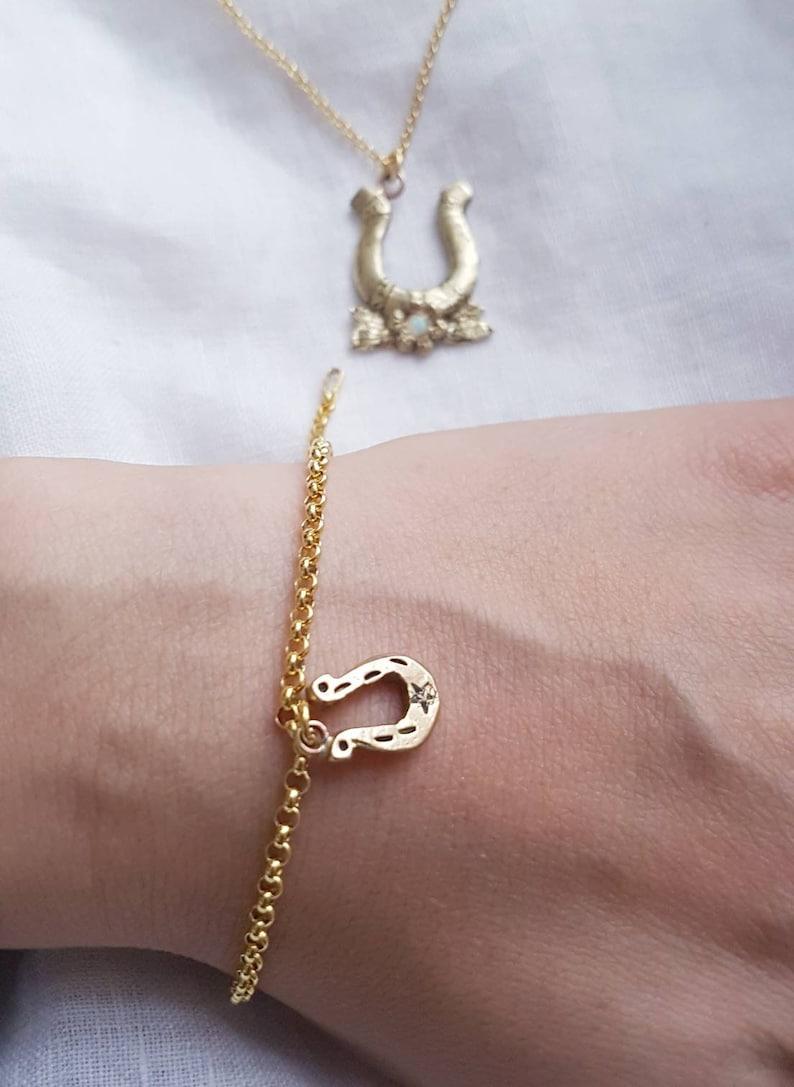 lucky horseshoe necklace and bracelet gift set, oldschool tattoo style design gift set Horseshoe necklace and charm bracelet set