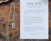 The sun tarot card sterling silver pendant necklace, new design tarot pendant the sun, tarot lover silver pendant with rustic rectangular