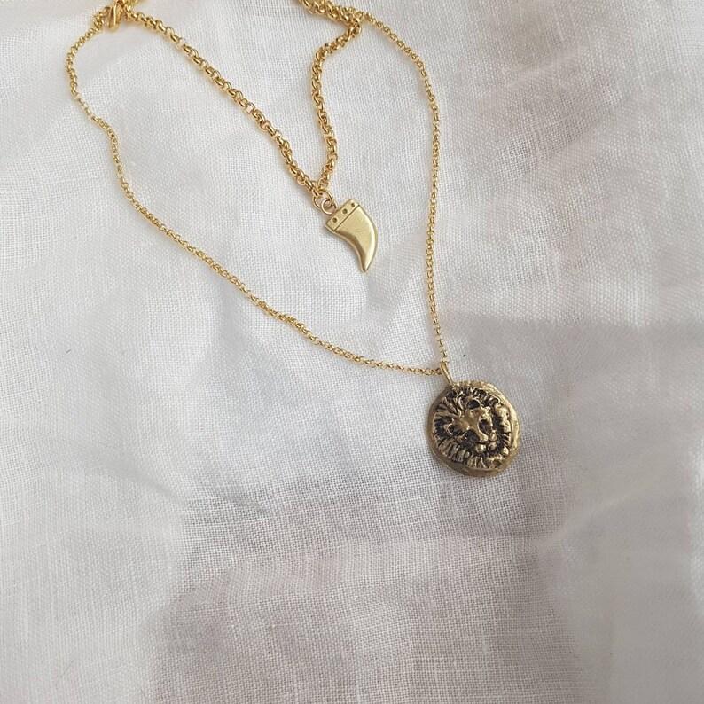Lion medalion necklace and charm bracelet jewelry set lion image 0