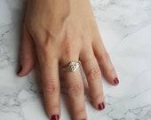 Evil eye signet ring, Wicca secret society mason ring,crying eye symbol ring, Gothic boho ring jewelry,  gift for women, Celestial jewelry