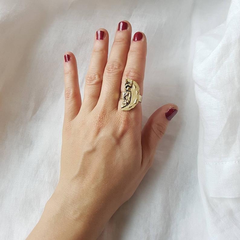split in two coin signet ring broken coin ring golden image 0