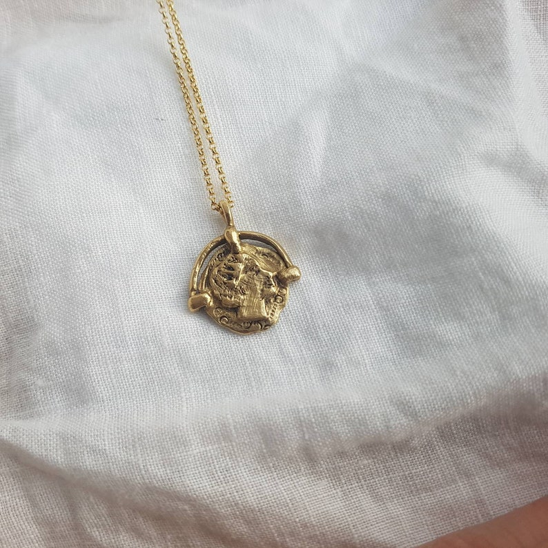 Art deco womens coin pendant necklace Gold tone victorian image 0