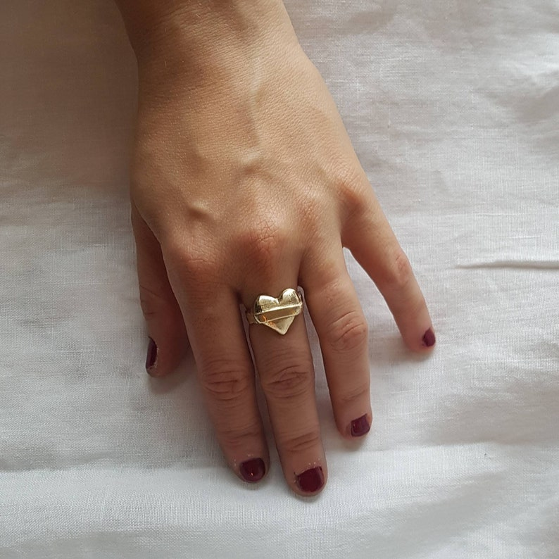 Be True to your heart gold heart signet ring with space for image 0