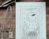 The moon tarot card pendant necklace sterling silver short tarot necklace with the moon design tarot reading jewelry collection moon pendant