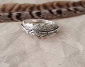 Rustic feather stacking ring