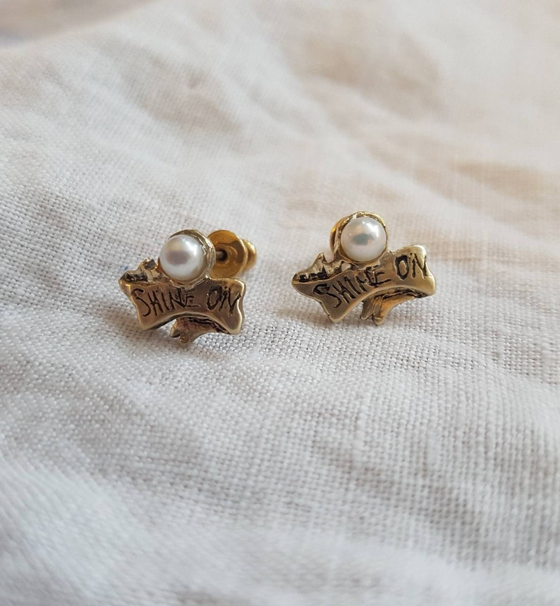 Shine on scroll stud earrings vintage style banner and image 0