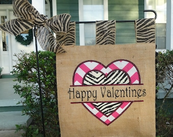 Burlap Garden Flag - Custom Valentines- Embroidery Applique