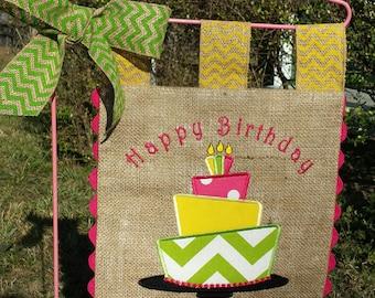 Burlap Garden Flag - Happy Birthday Cake -Custom  - Embroidery Applique