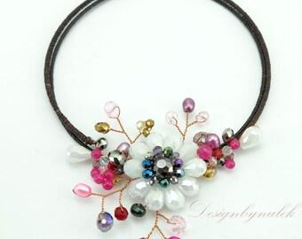 Flower crystal,freshwater pearl,carnelian Choker.