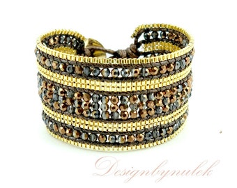 Crystal gold plated box chain wrap bracelet.