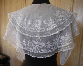RESERVED .......................................c1830s Double Collar Pelerine Muslin Whitework Embroidery Vintage Fashion
