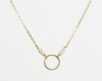 14k Gold Filled Pearl Circle Necklace