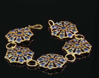SALE! Victorian 50.00 Ct untreated Ceylon sapphire rare flower bracelet