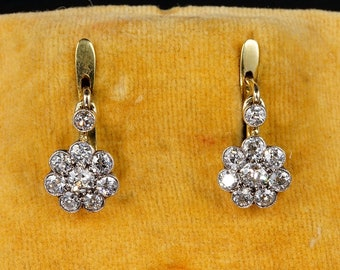 Victorian 2.0 Ct Old Mine Cut Diamond Rare Floret Daisy Earrings
