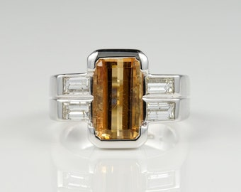 Signed Ventrella Late Deco Imperial Topaz Diamond Spectacular Ring