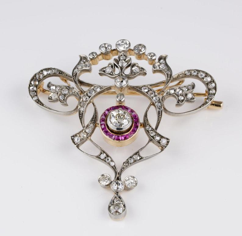 4fab336ff Stunning Edwardian Diamond Natural Ruby Brooch Pendant | Etsy
