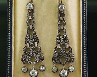 Georgian 4,50 Ct old cut diamond long chandelier stunning earrings