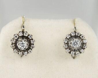 Charming .65 Ct diamond retro floret earrings